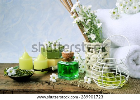 spa set of natural products ,spa background - stock photo