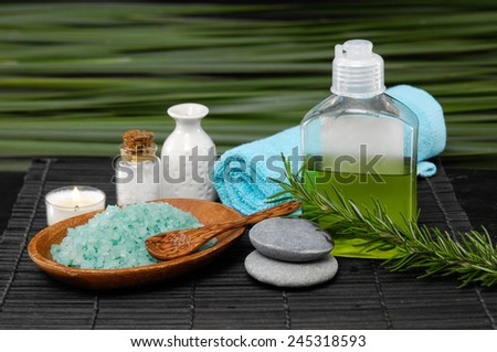Spa set on and green palm background - stock photo
