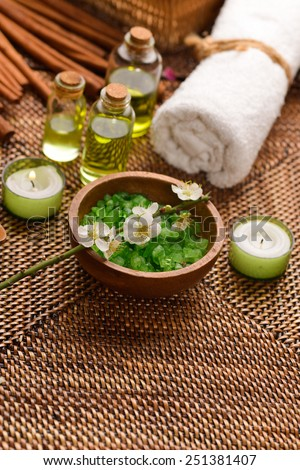 Spa set on wicker mat  - stock photo