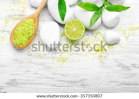 Spa set on wooden background - stock photo