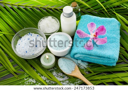 Spa set with orchid on towel, salt in bowl ,spoon on palm leaf - stock photo