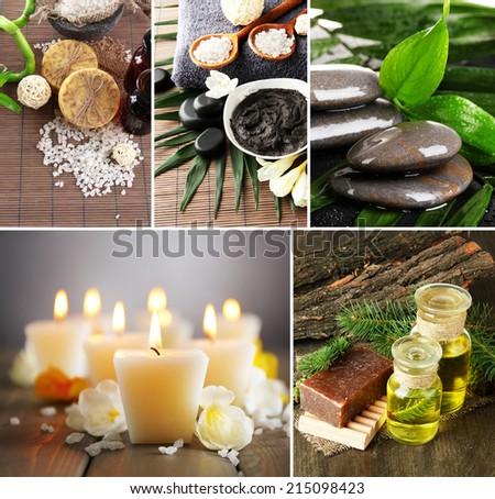 Spa setting collage - stock photo
