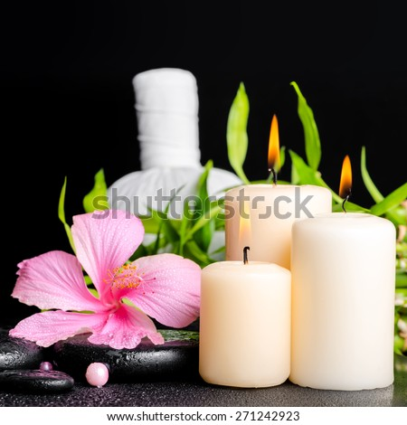 spa setting of hibiscus flower, twig bamboo, thai herbal compress balls, beads and candles on zen basalt stones with drops, closeup - stock photo