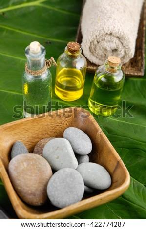spa setting on leaf  - stock photo