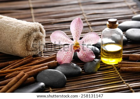 Spa setting on mat - stock photo