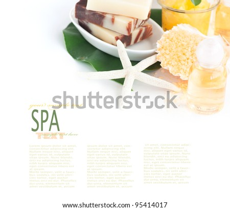Spa setting with beauty products, shampoo and bath salt - stock photo