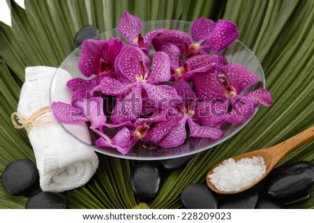Spa setting with orchid with stones ,towel ,salt in spoon on green palm leaf - stock photo