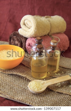 SPA still life. aromatherapy and bath products - stock photo