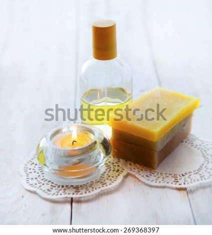 spa still-life. oil for body - stock photo
