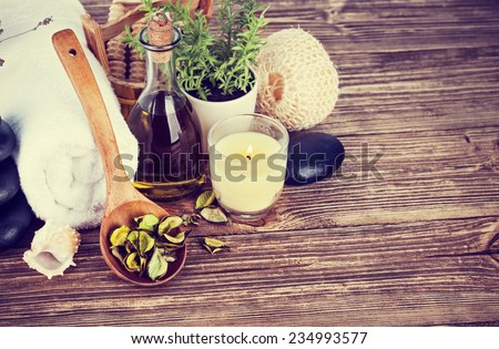 Spa still life with candle - stock photo