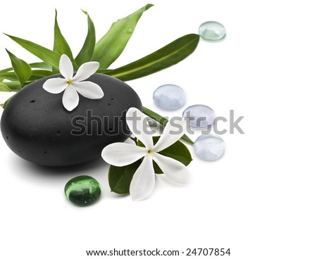 Spa still life with frangipani and bamboo leafs on white background - stock photo