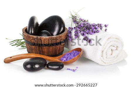 Spa still life with lavender saltl isolated on white background - stock photo