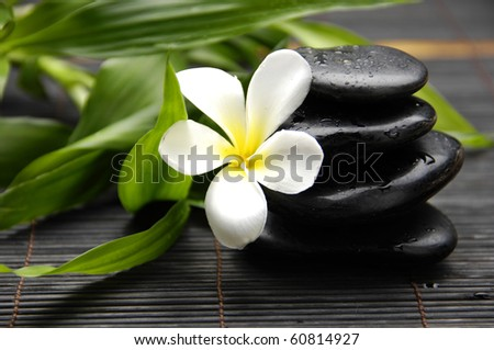 Spa still life with Stacked stone and bamboo with frangipani flower - stock photo
