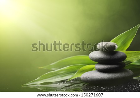 Spa still life with zen stone and bamboo leaves - stock photo