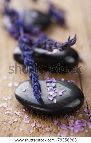 spa stones and lavender - stock photo