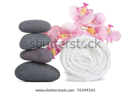 spa stones and towel isolated - stock photo