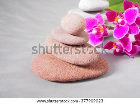 Spa stones treatment scene, zen like concepts - stock photo