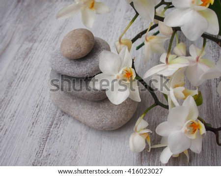 Spa stones treatment scene, zen like concepts - stock photo