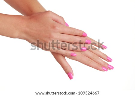 Spa theme of woman hands /cosmetics theme , - stock photo