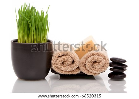 Spa towel, soap and wheatgrass on white background - stock photo