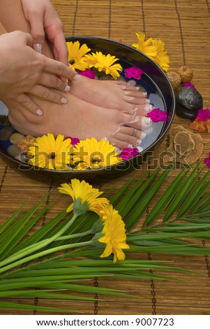 Spa treatment with aromatic gerbera daisies, healing stones, olive oil soaps and herbal water - stock photo