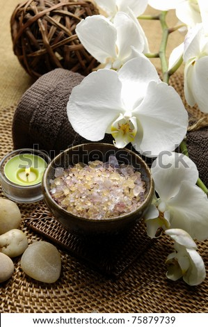 spa. welness products â??green candle, white orchid ,stones, Spa salt - stock photo