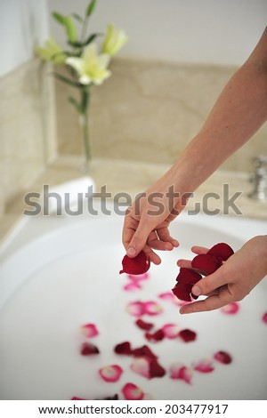 Spa with flower petals and hot bath tub - stock photo