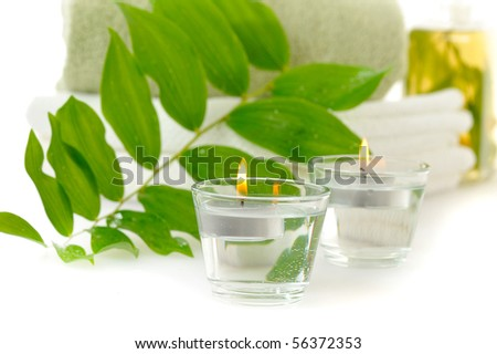 spa with herbal tincture and green leaf on white - stock photo