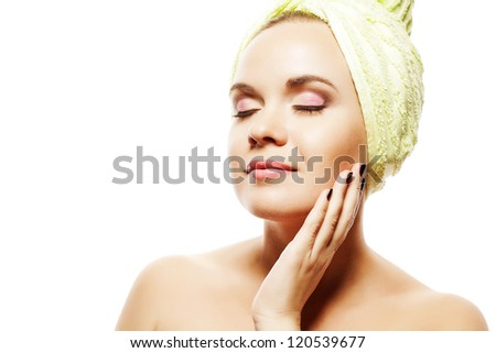 Spa Woman. Beautiful Girl With Ginger Hair With Closed Eyes After Bath Touching Her Face. Perfect Skin. Skincare. Young Skin. Studio Shot - stock photo