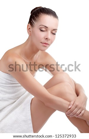 Spa woman with clean skin - stock photo