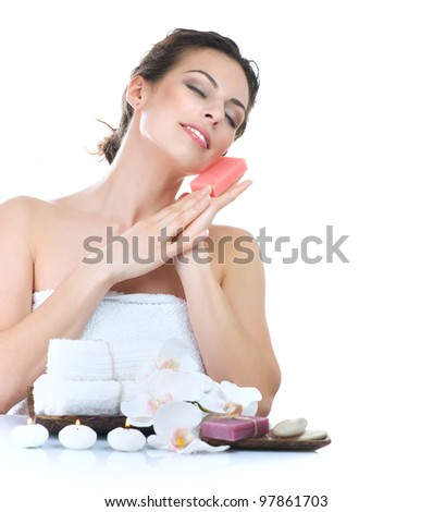 Spa Woman with Handmade Soap - stock photo