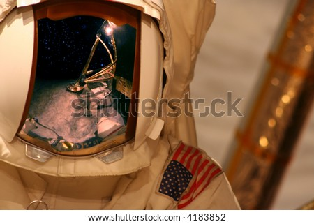 Space astronaut on moon - stock photo