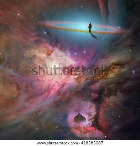 Space background with human being 3D Render - stock photo