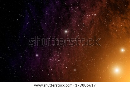 Space background with orange nebula and stars.  - stock photo