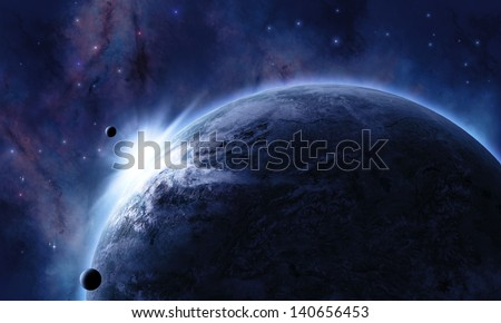 space background with planet in front eclipsed the star - stock photo