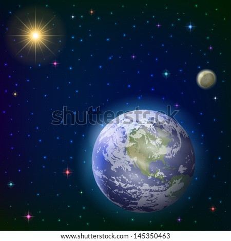 Space background with realistic planet mother Earth, moon, sun and stars. Elements of this image furnished by NASA  - stock photo