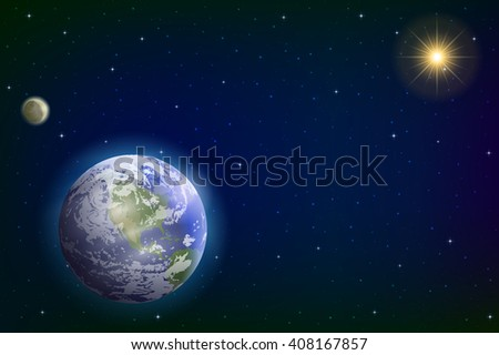 Space Background with Realistic Planet Mother Earth, Moon, Sun and Stars. Elements of this Image Furnished by NASA, www.visibleearth.nasa.gov - stock photo