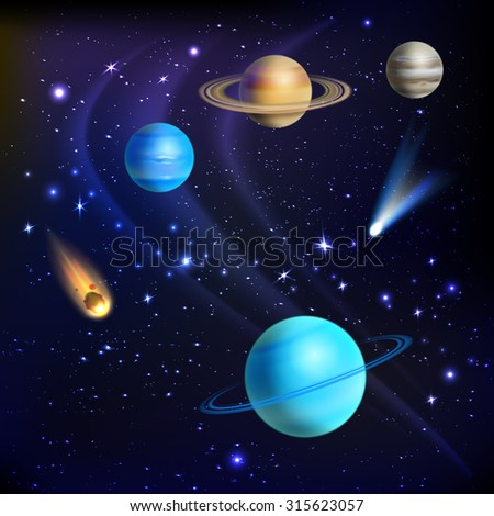 Space background with solar system planets comets and meteors  illustration - stock photo