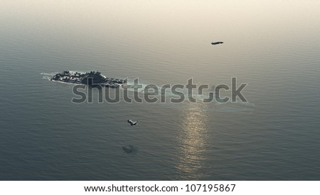 Space battle cruiser crashed at sea with search and rescue patrol airships nearby, 3d digitally rendered illustration - stock photo