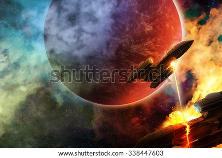 Space battle with aliens in an unknown hostile universe - stock photo
