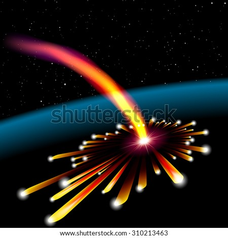 Space card with meteorite hit and explosion - stock photo