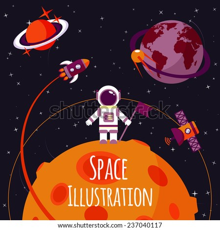 Space concept with astronaut on moon and rocket satellites on orbit flat  illustration - stock photo