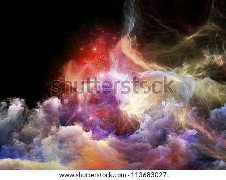 Space Dance Series. Abstract design made of nebulous textures, lights and gradients on the subject of astronomy, imagination, fantasy and creativity - stock photo