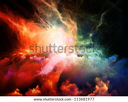 Space Dance Series. Creative arrangement of nebulous textures, lights and gradients as a concept metaphor on subject of astronomy, imagination, fantasy and creativity - stock photo