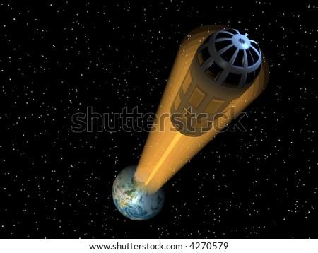 Space elevator high above earth map courtesy nasa - stock photo