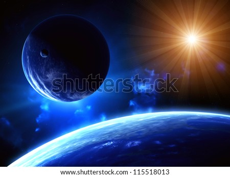 Space flare. A beautiful space scene with planets and sun - stock photo