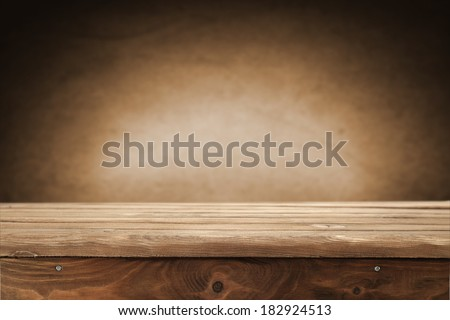 space for you and brown wall with brown deck  - stock photo
