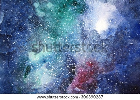 Space hand painted watercolor background. Abstract galaxy painting. Cosmic texture with stars. Night sky. - stock photo
