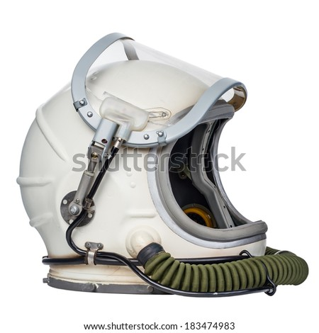 Space helmet isolated against a white background. - stock photo