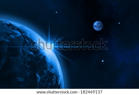 Space landscape (earth, sun, moon). Sunrise. 3D image.  - stock photo